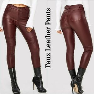 Pants - Faux Leather Pants in Burgundy